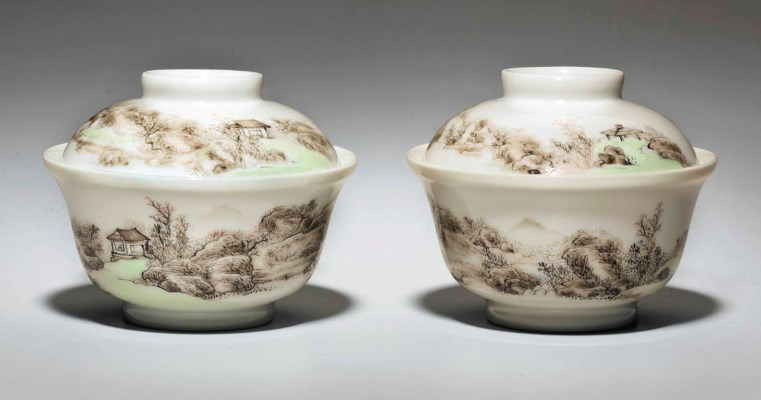 A FINELY ENAMELED PAIR OF GRIS