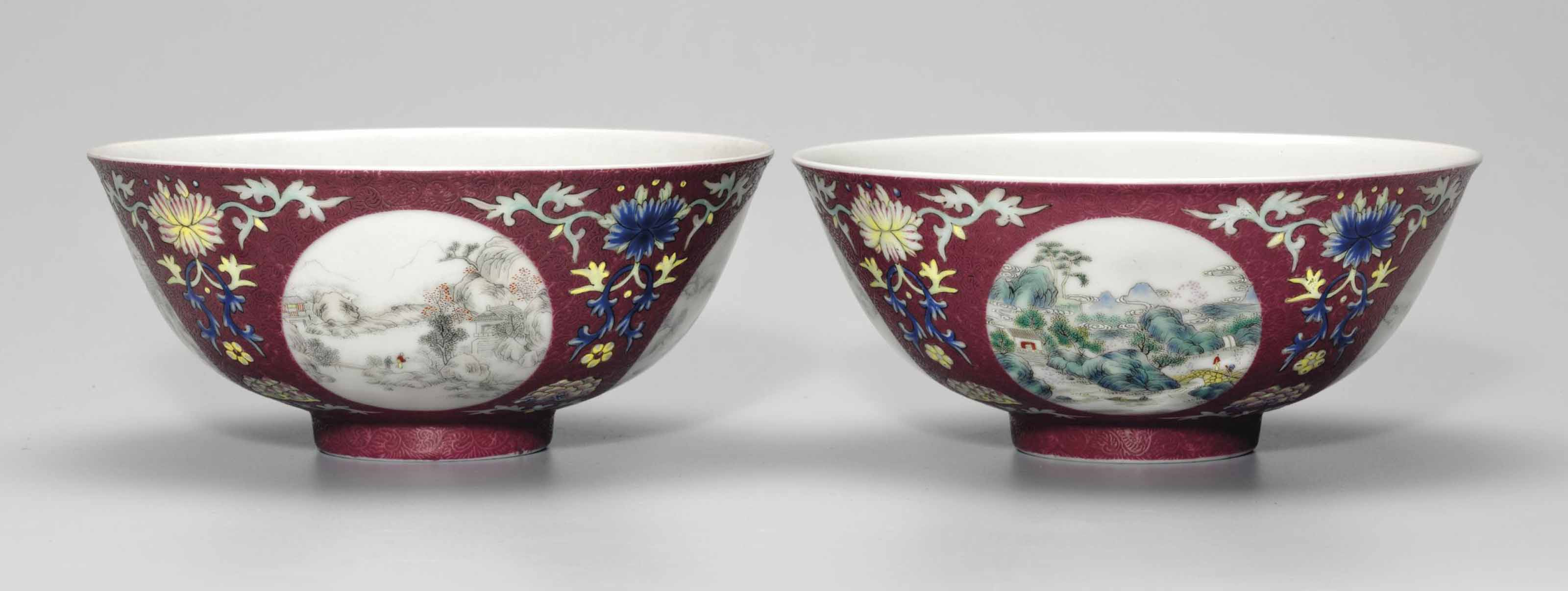 A PAIR OF SGRAFFITO RUBY-GROUN