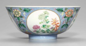 A PALE-BLUE SGRAFFITO-GROUND FAMILLE ROSE 'MEDALLION' BOWL