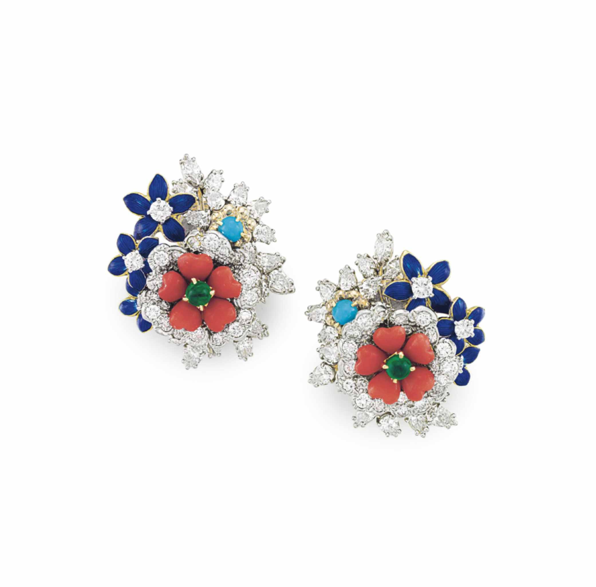 A PAIR OF DIAMOND AND MULTI-GEM FLOWER EAR CLIPS, BY DONALD CLAFLIN, TIFFANY & CO.