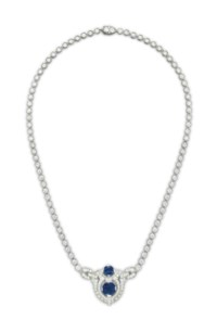 AN ART DECO DIAMOND AND SAPPHIRE NECKLACE, BY J.E. CALDWELL & CO.