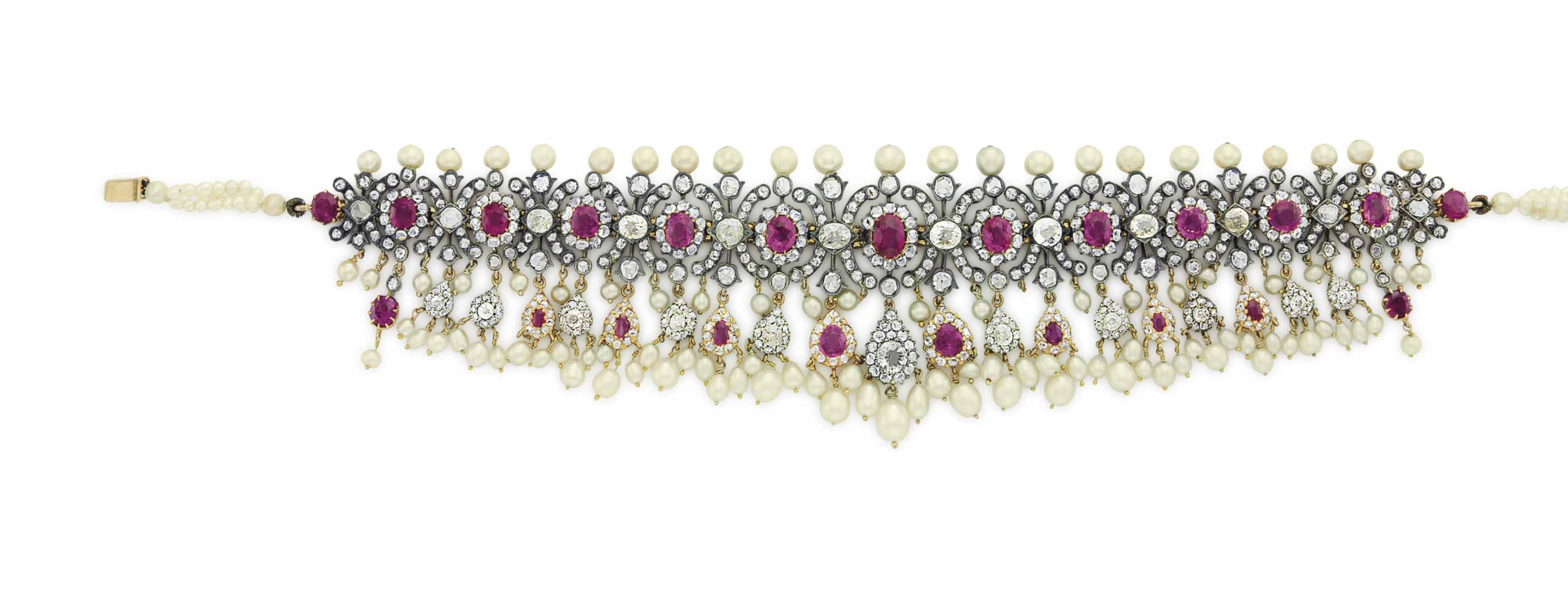 AN ANTIQUE RUBY, SYNTHETIC RUBY, DIAMOND AND PEARL CHOKER