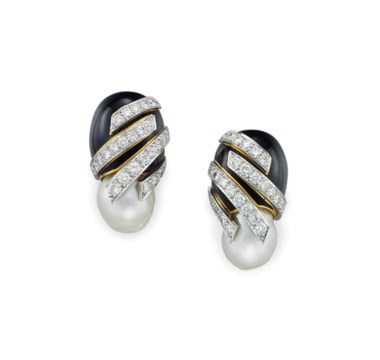 A pair of diamond, baroque cultured pearl and enamel ear clips, by David Webb. Sold for $10,000 on 20 April 2016 at Christie's in New York