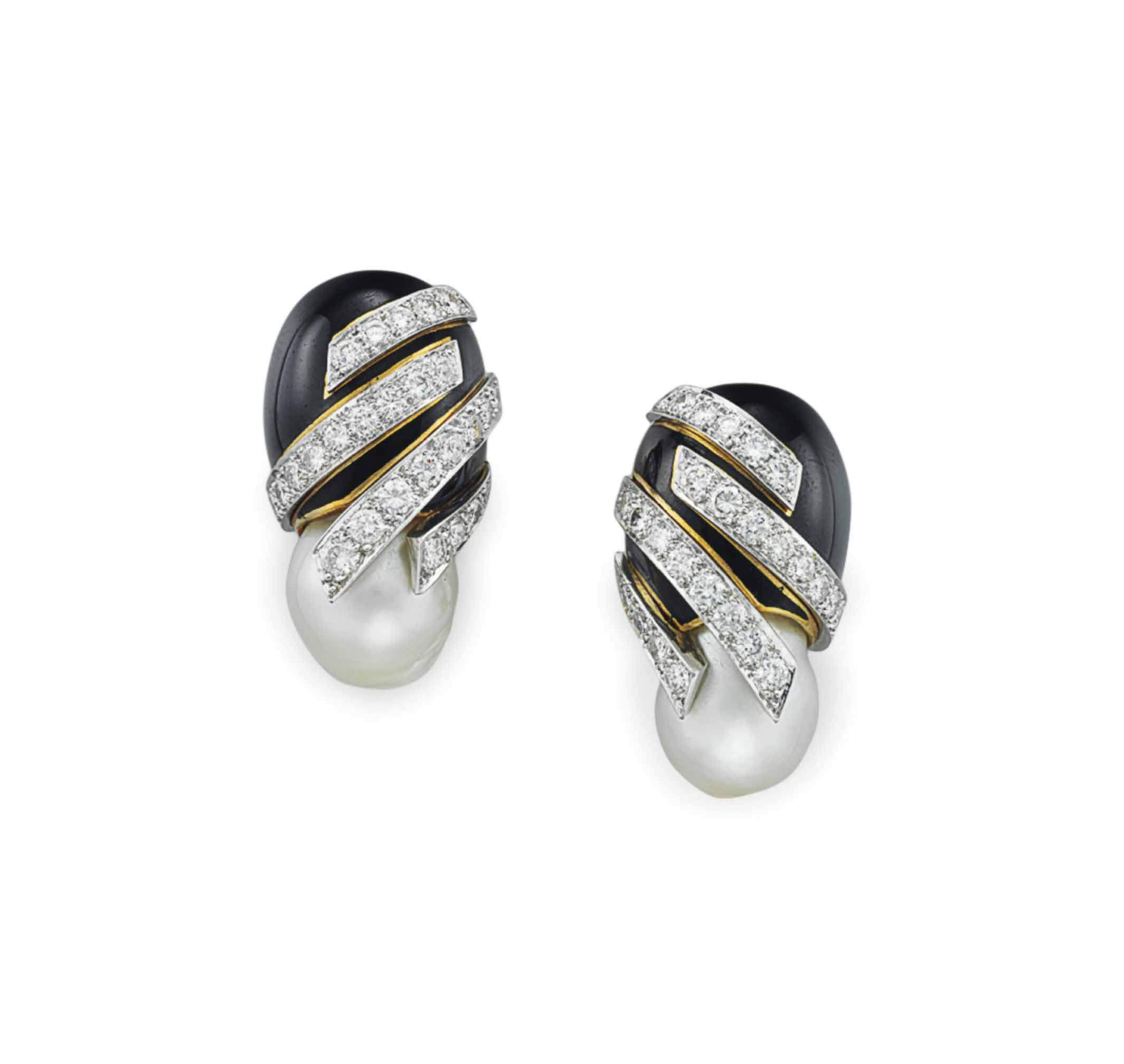 A PAIR OF DIAMOND, BAROQUE CULTURED PEARL AND ENAMEL EAR CLIPS, BY DAVID WEBB