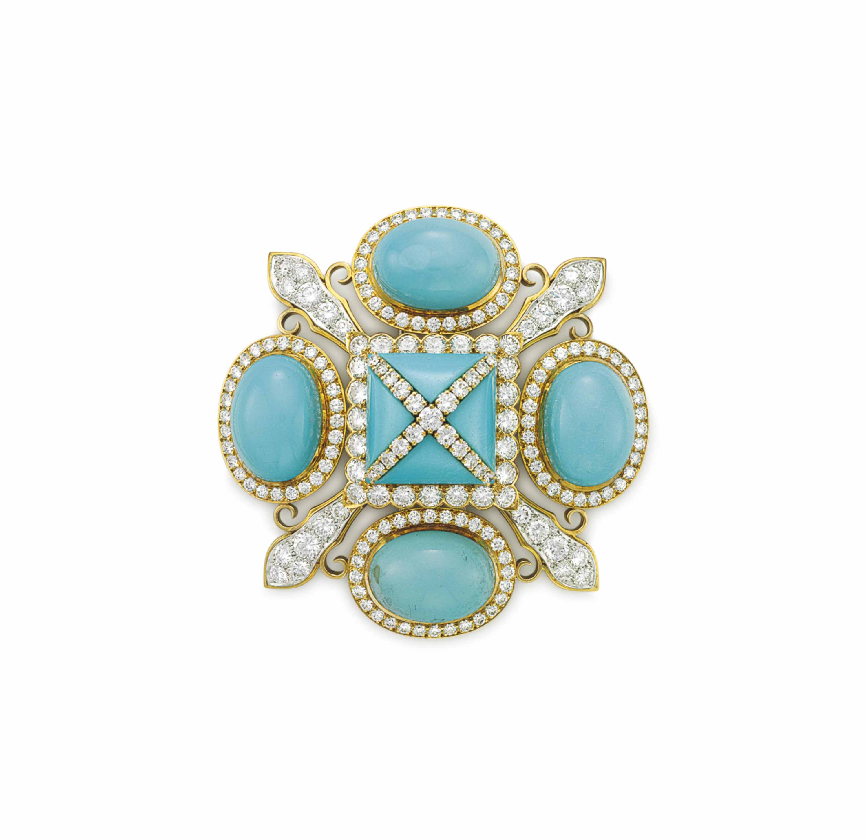 A TURQUOISE AND DIAMOND BROOCH, BY DAVID WEBB