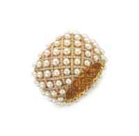 A DIAMOND AND CULTURED PEARL 'MATELASSE' BANGLE BRACELET, BY CHANEL