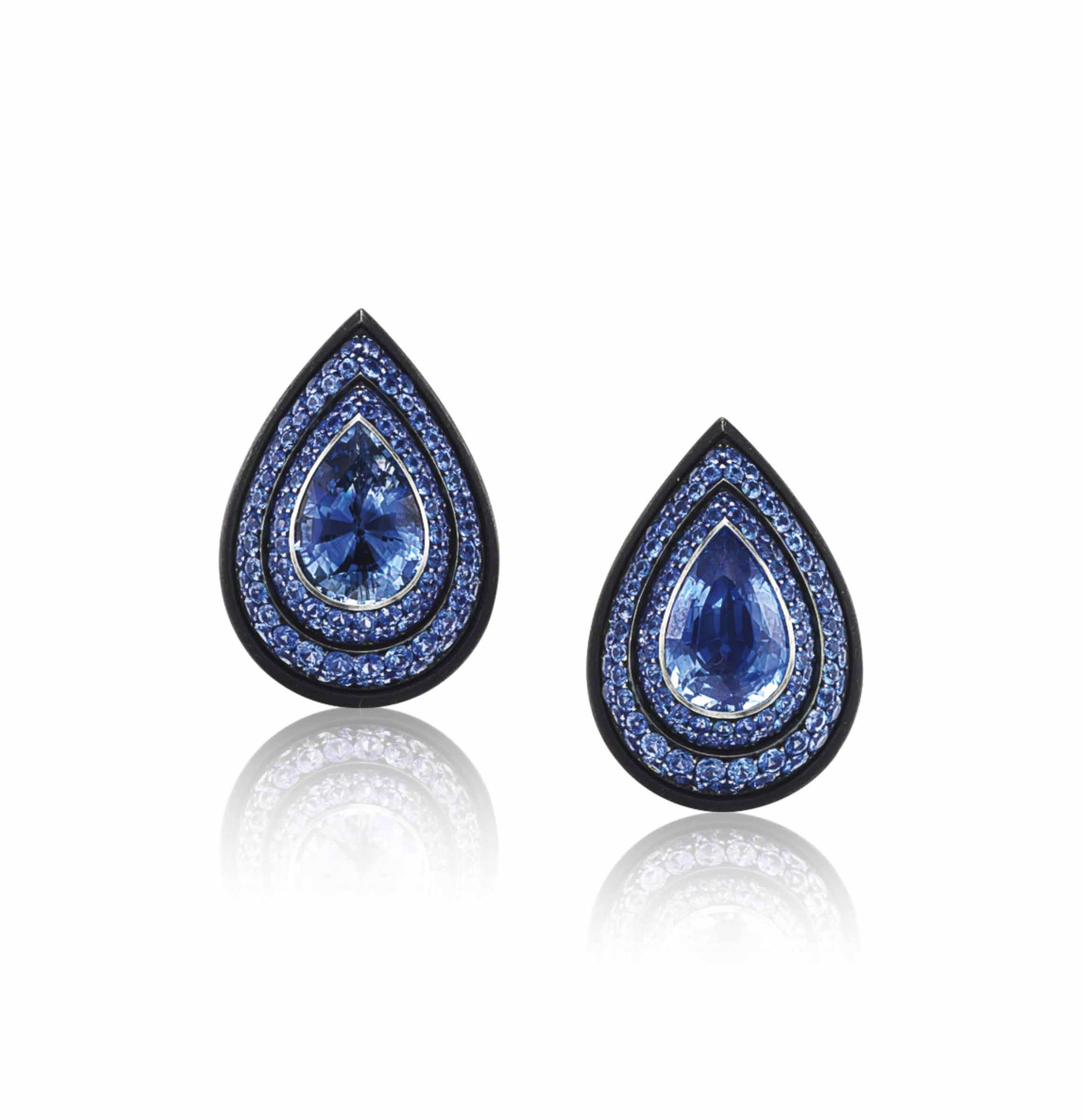 A PAIR OF SAPPHIRE EAR CLIPS, BY HEMMERLE