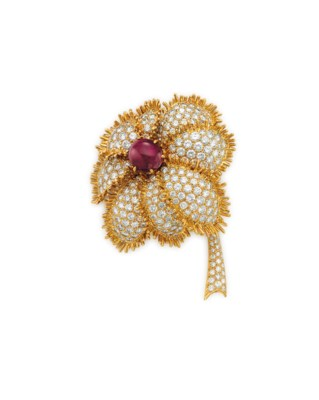 A RUBY AND DIAMOND FLOWER BROO