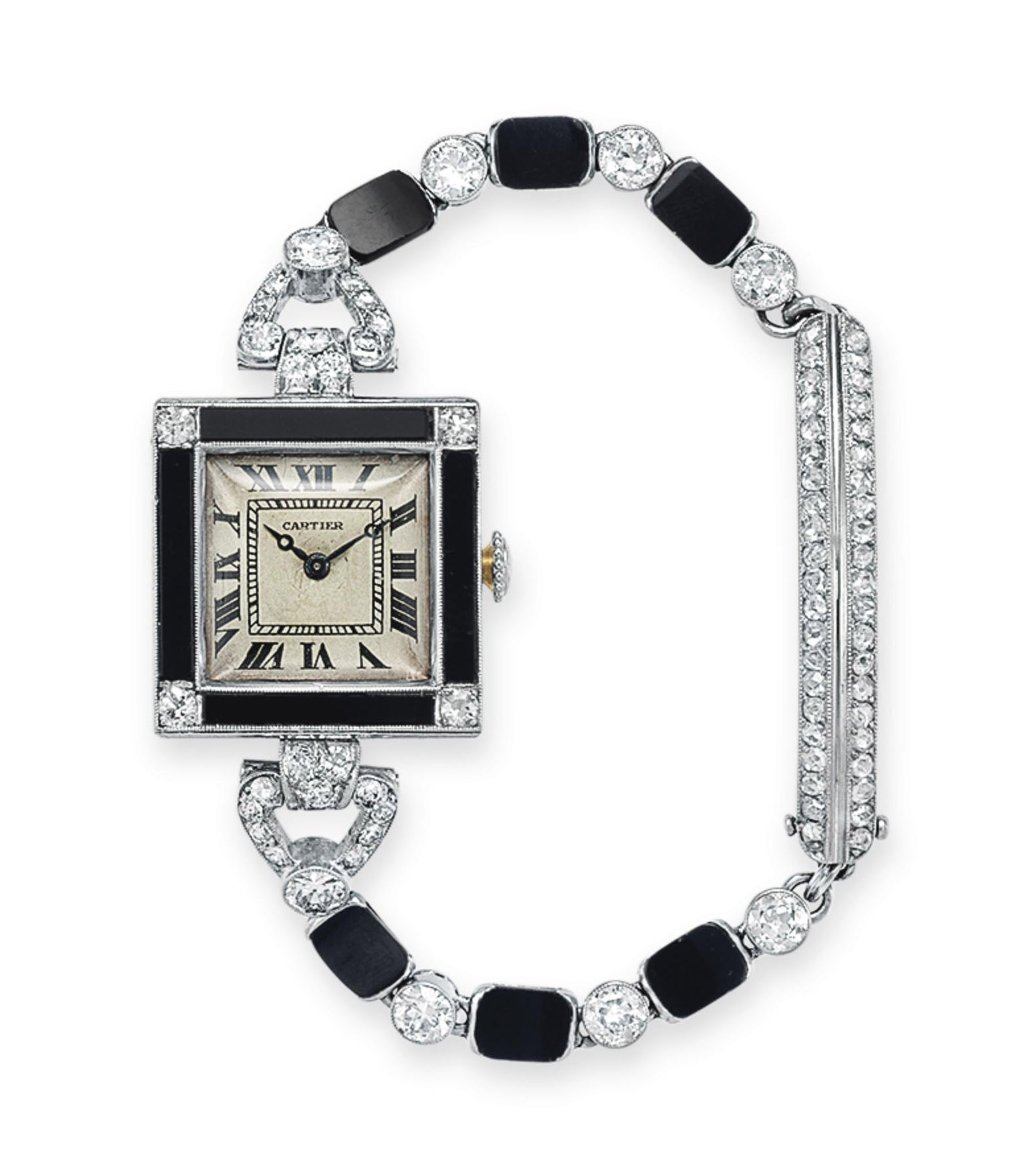 AN ART DECO DIAMOND AND ONYX W