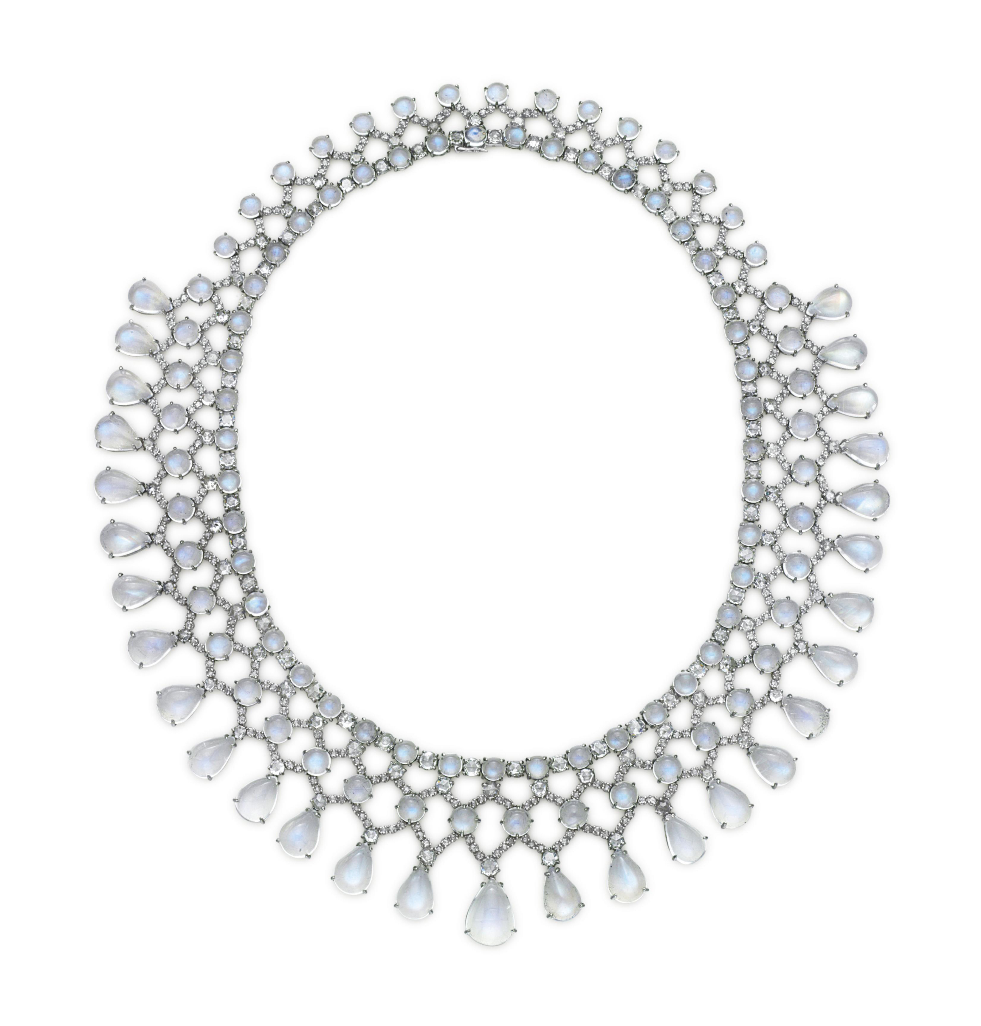 A MOONSTONE AND DIAMOND NECKLA