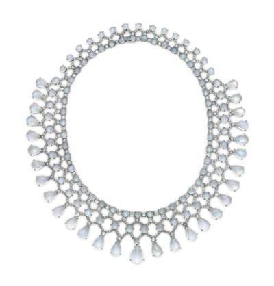 A MOONSTONE AND DIAMOND NECKLA