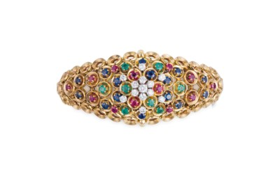A MULTI-GEM AND GOLD BRACELET