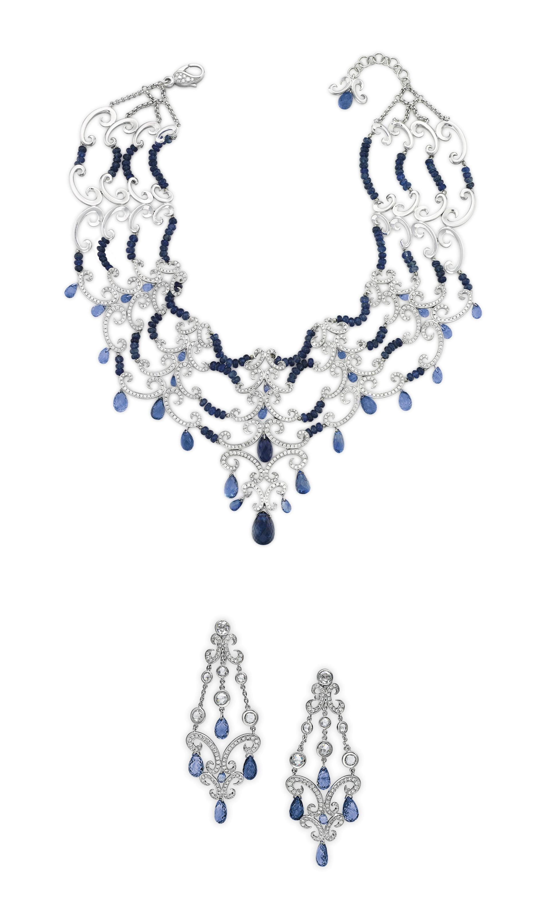 A SET OF SAPPHIRE, DIAMOND AND