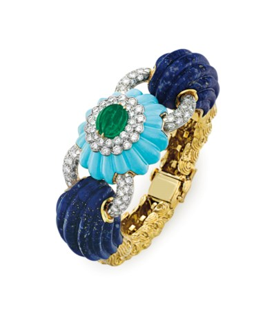 AN EMERALD, TURQUOISE AND LAPI