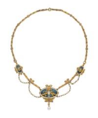 AN ART NOUVEAU ENAMEL, PEARL, DIAMOND AND GOLD NECKLACE, BY LUCIEN GAUTRAIT