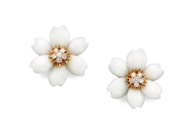 A PAIR OF WHITE CORAL AND DIAM