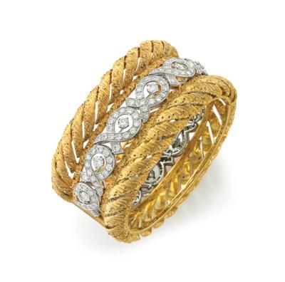 A DIAMOND AND GOLD BANGLE BRAC
