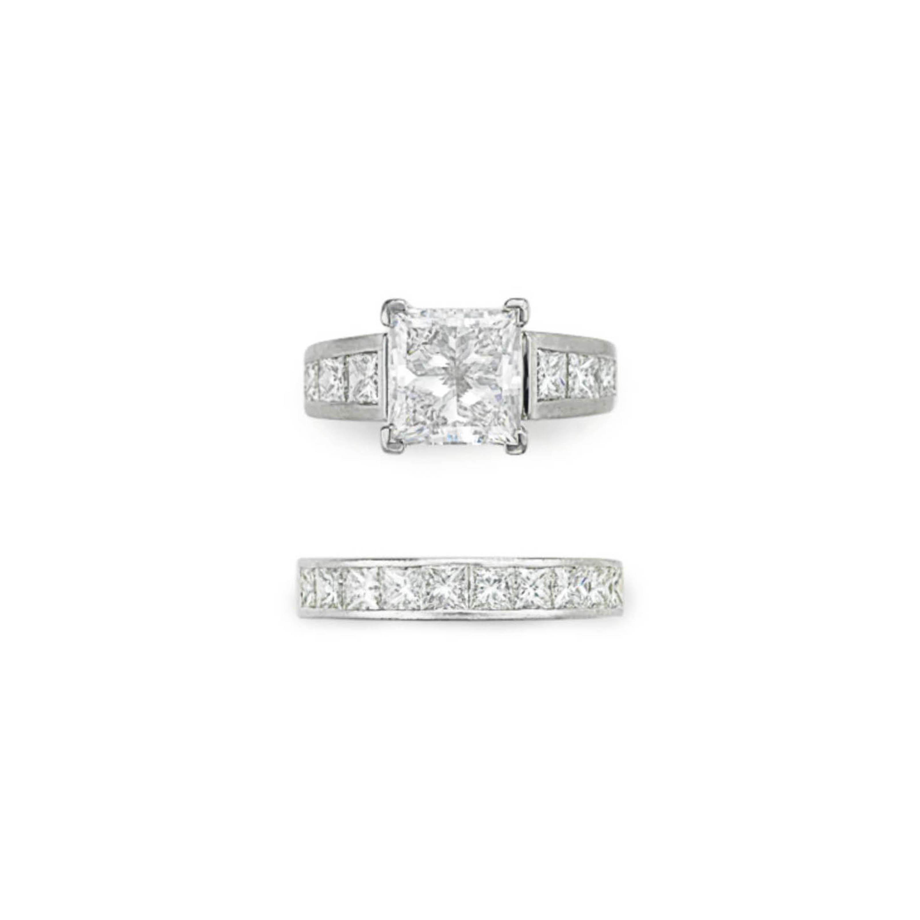 A DIAMOND RING AND WEDDING BAN
