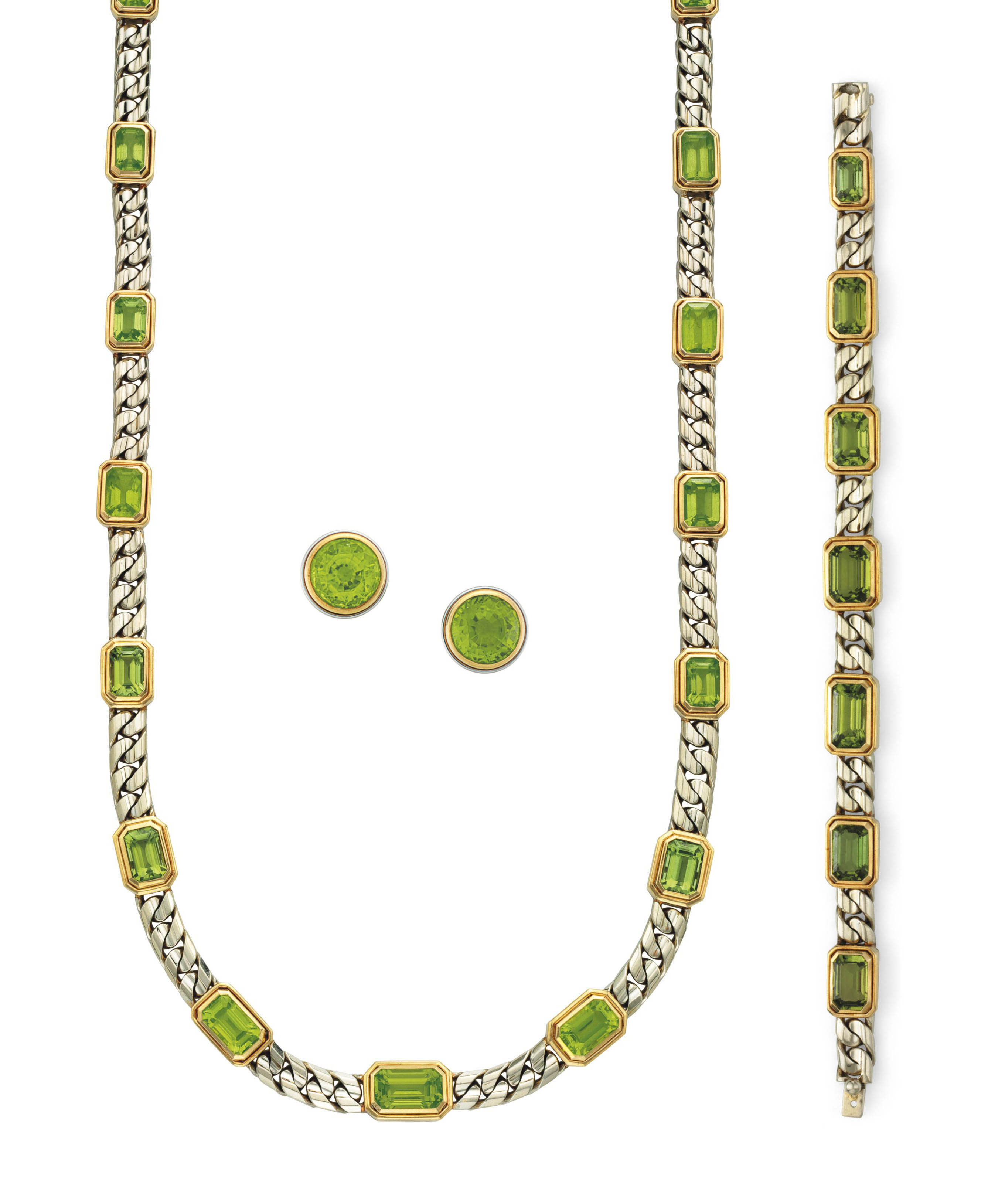 A SUITE OF PERIDOT AND BICOLOR