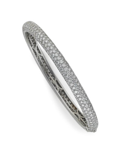 A DIAMOND BANGLE BRACELET, BY