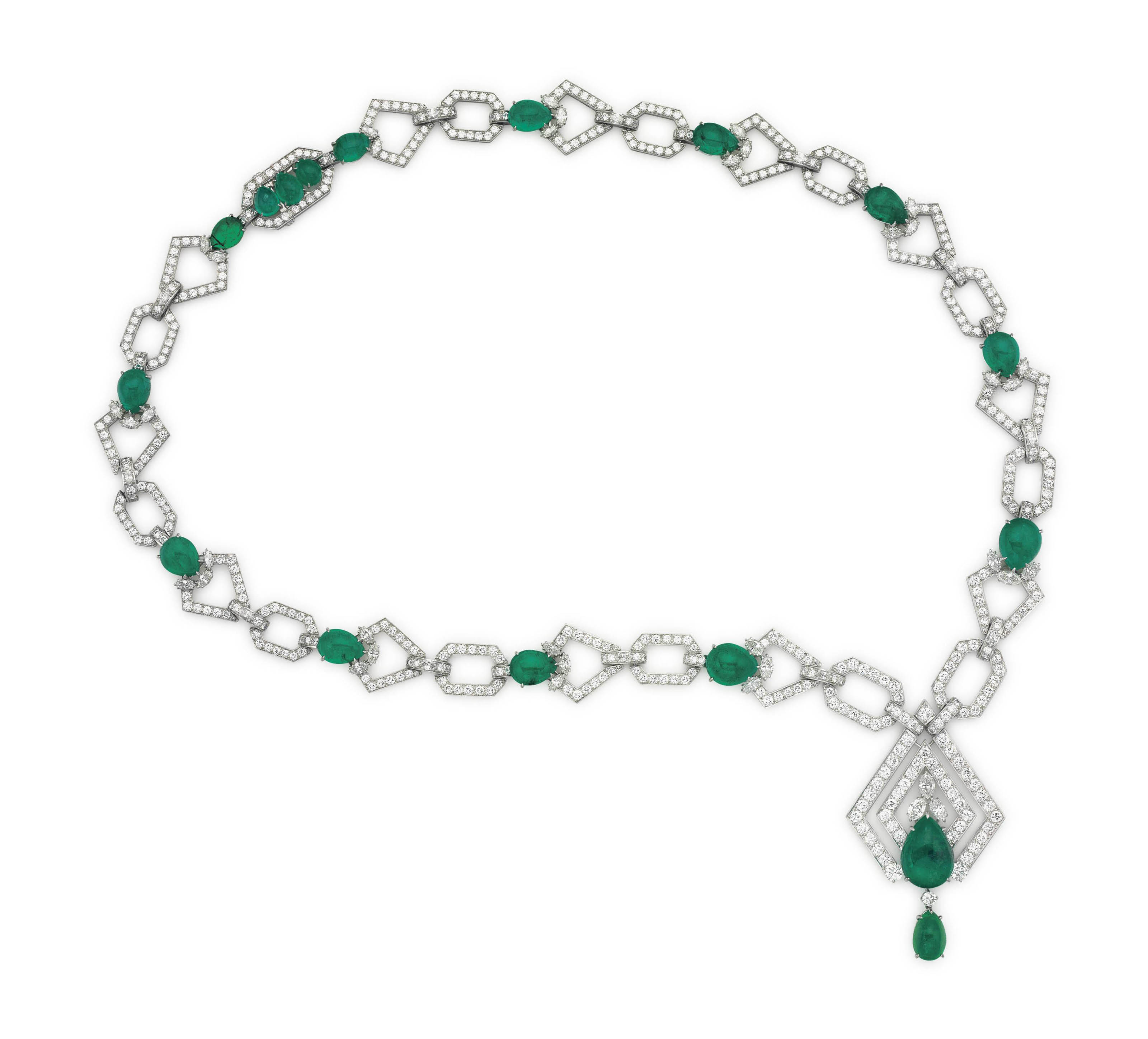 AN EMERALD AND DIAMOND SAUTOIR