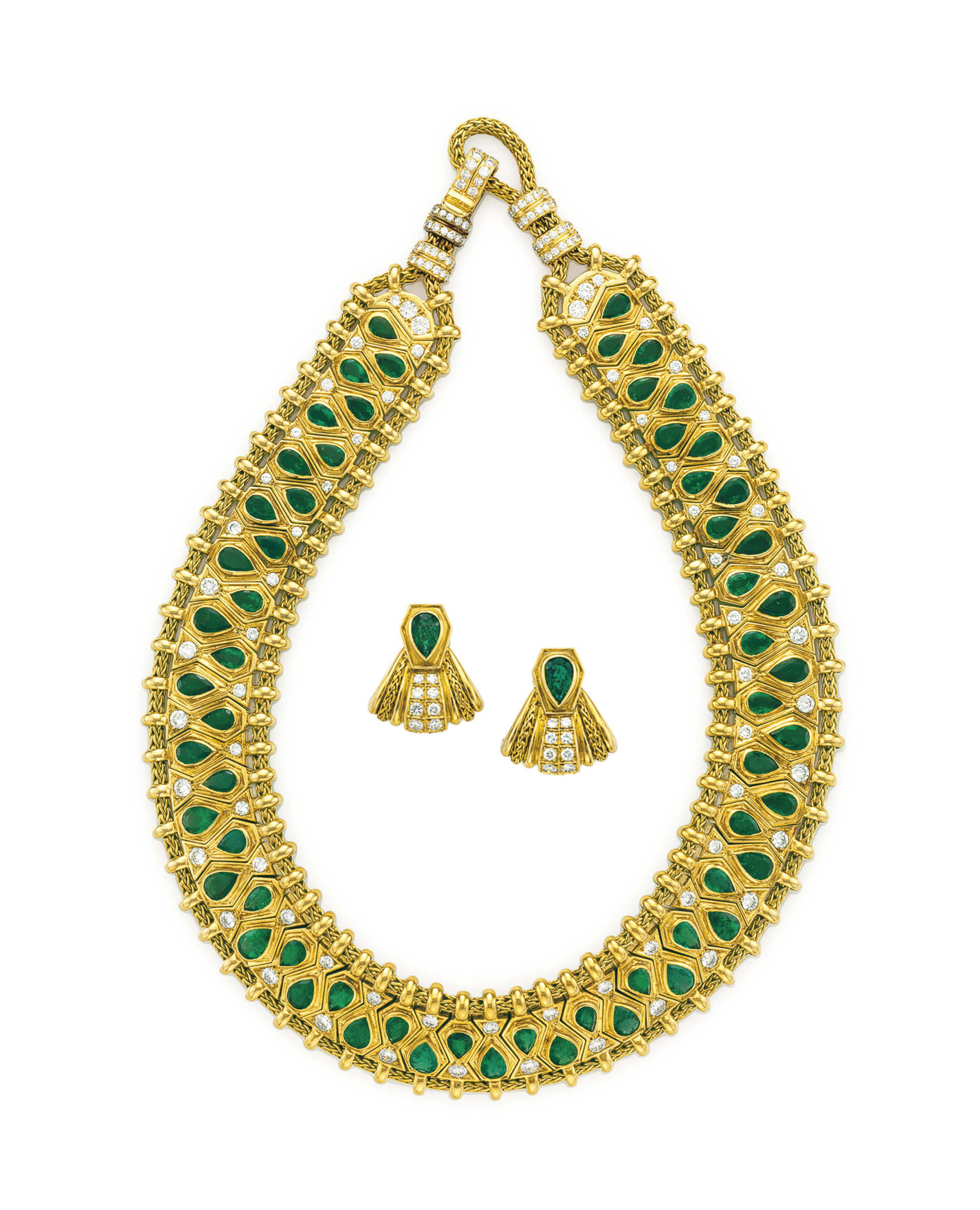 A SET OF HINDU EMERALD DIAMOND AND GOLD JEWELRY BY REN BOIVIN