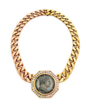 A bi-coloured gold, diamond and coin necklace, by Bulgari. Sold for $40,000 on 7 December 2016 at Christie's in New York