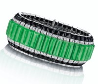 A JADEITE, ONYX AND DIAMOND BRACELET, BY OSCAR HEYMAN & BROTHERS
