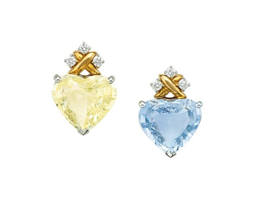A PAIR OF SAPPHIRE AND COLORED