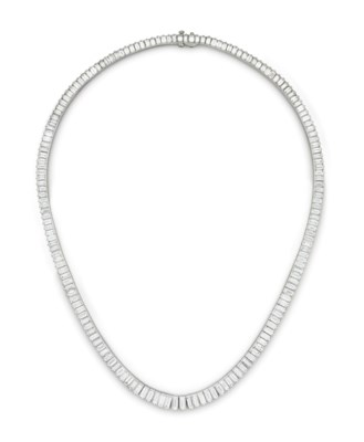 A DIAMOND LINE NECKLACE, BY OS