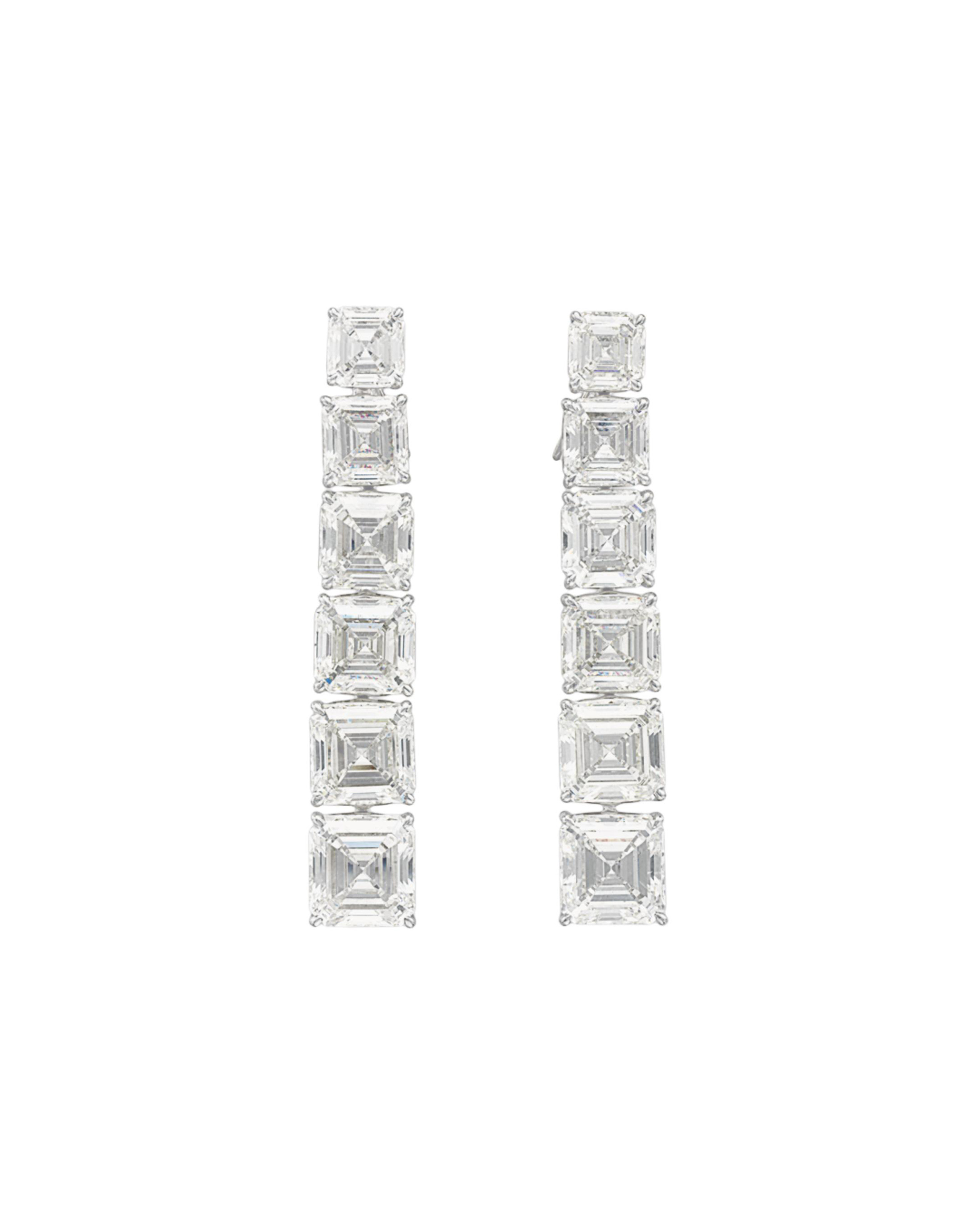 A PAIR OF DIAMOND EAR PENDANTS, BY OSCAR HEYMAN & BROTHERS