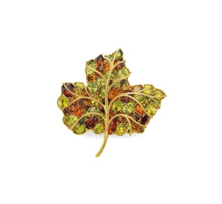 A MULTI-GEM LEAF BROOCH, BY VE