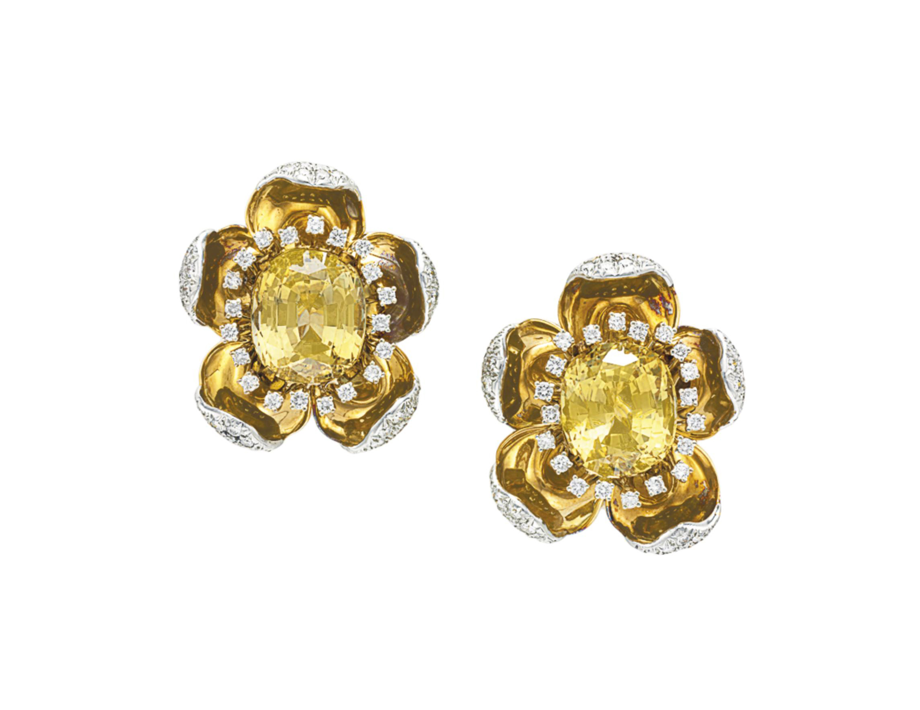 A PAIR OF COLORED SAPPHIRE, DI