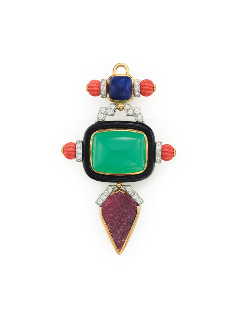 A multi-gem and diamond pendant brooch, by David Webb. Sold for $21,250 on 7 December 2016 at Christie's in New York