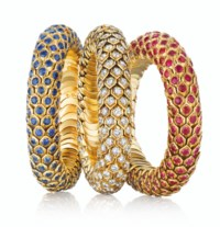THREE SAPPHIRE, RUBY AND DIAMOND 'HONEYCOMB' BRACELETS, BY RENÉ BOIVIN