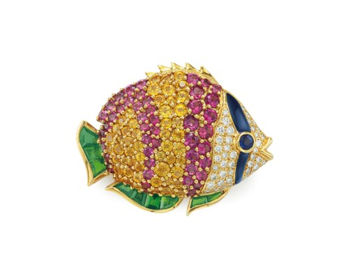 A MULTI-GEM AND DIAMOND FISH B