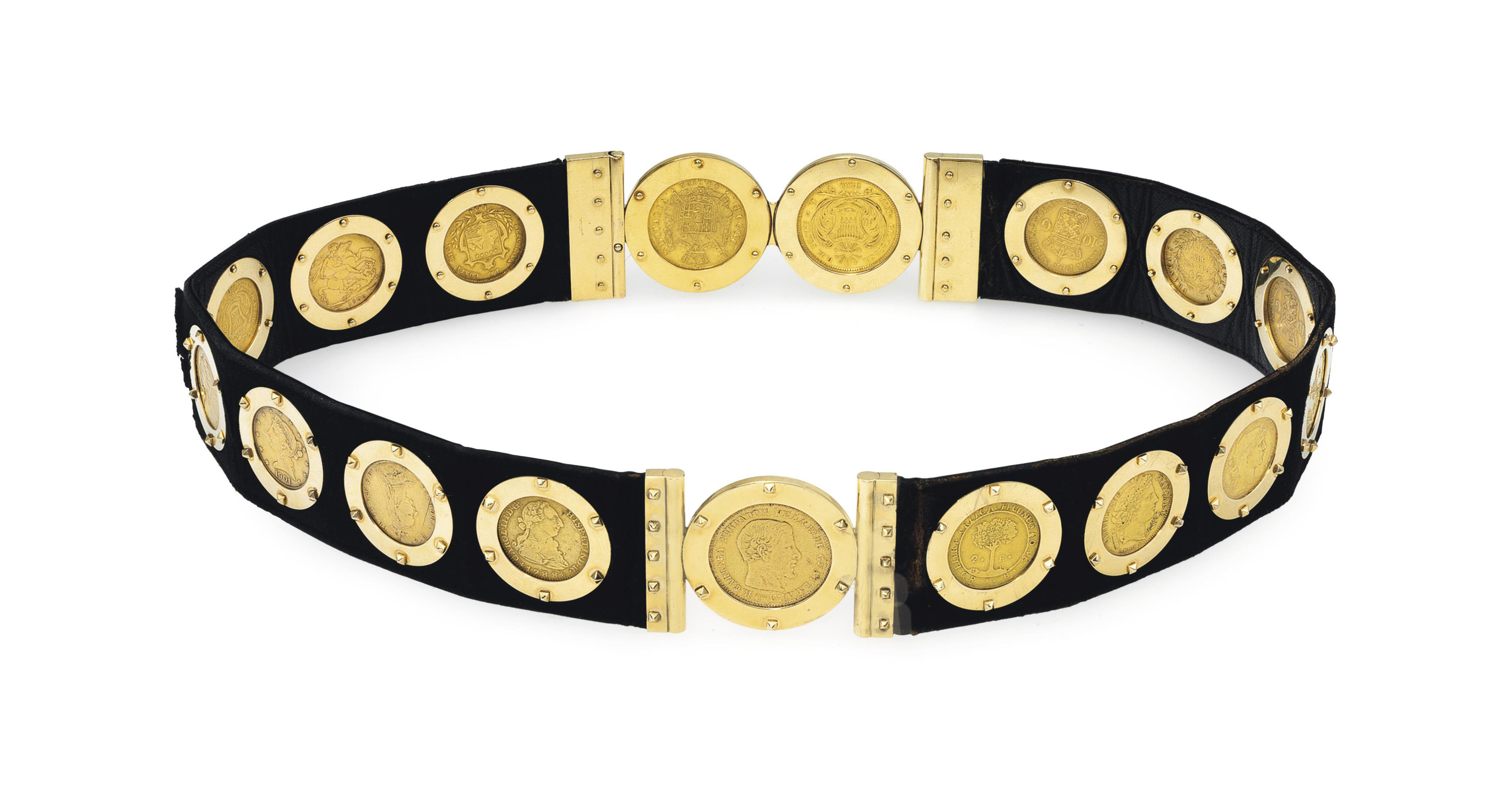 A LEATHER AND GOLD BELT, BY CA