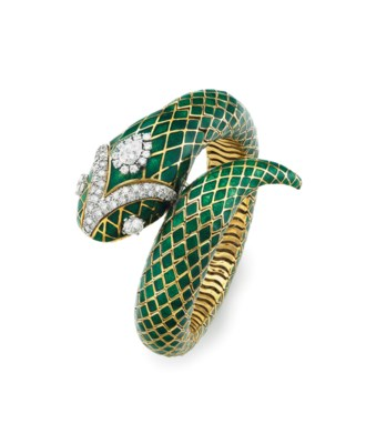 AN ENAMEL AND DIAMOND SERPENT