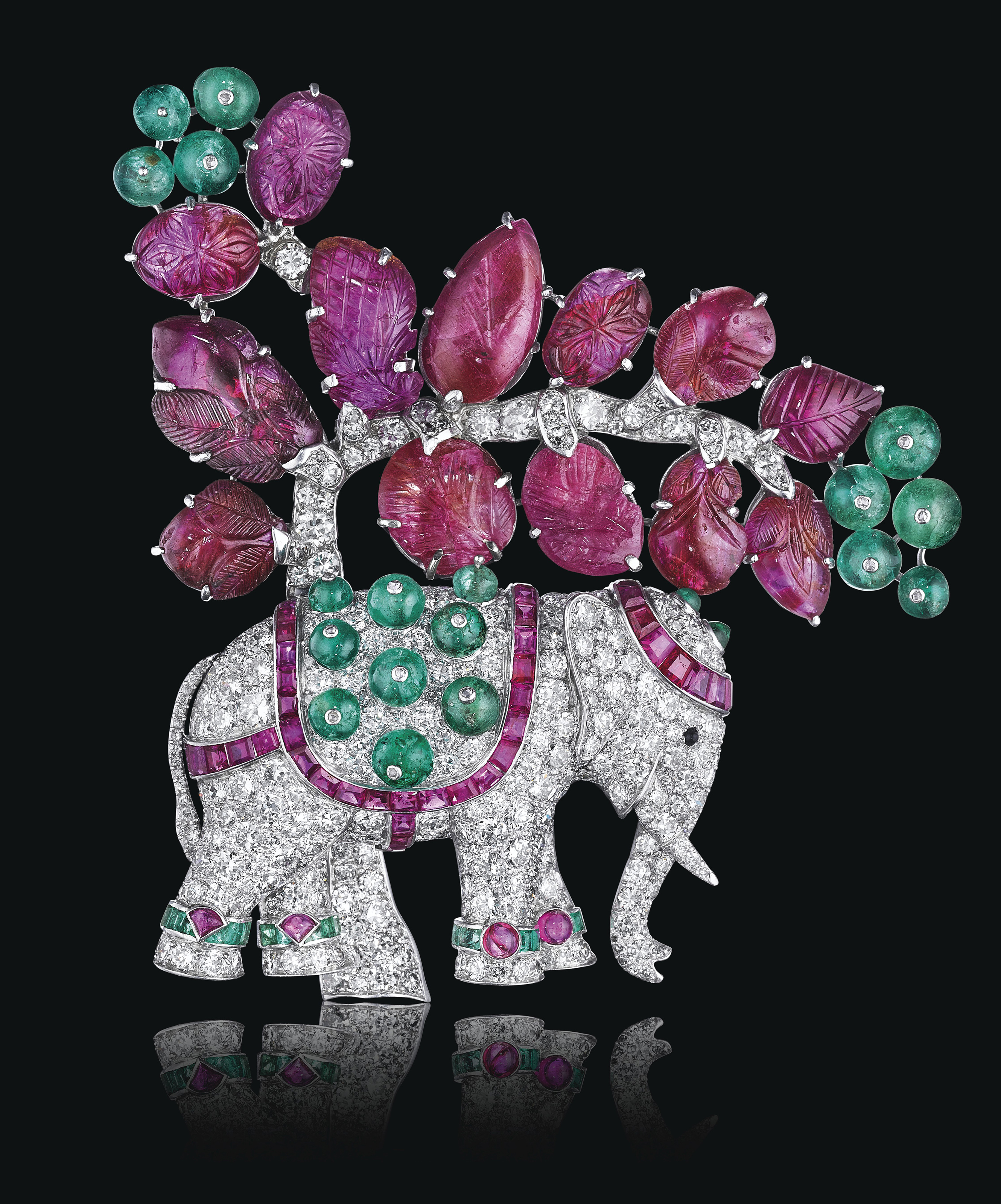 AN ART DECO RUBY, EMERALD AND DIAMOND ELEPHANT BROOCH, BY RENÉ BOIVIN
