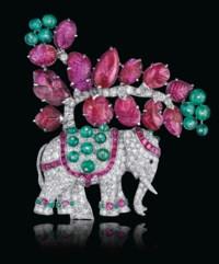 AN ART DECO RUBY, EMERALD AND DIAMOND ELEPHANT BROOCH, BY RENÉ BOIVIN