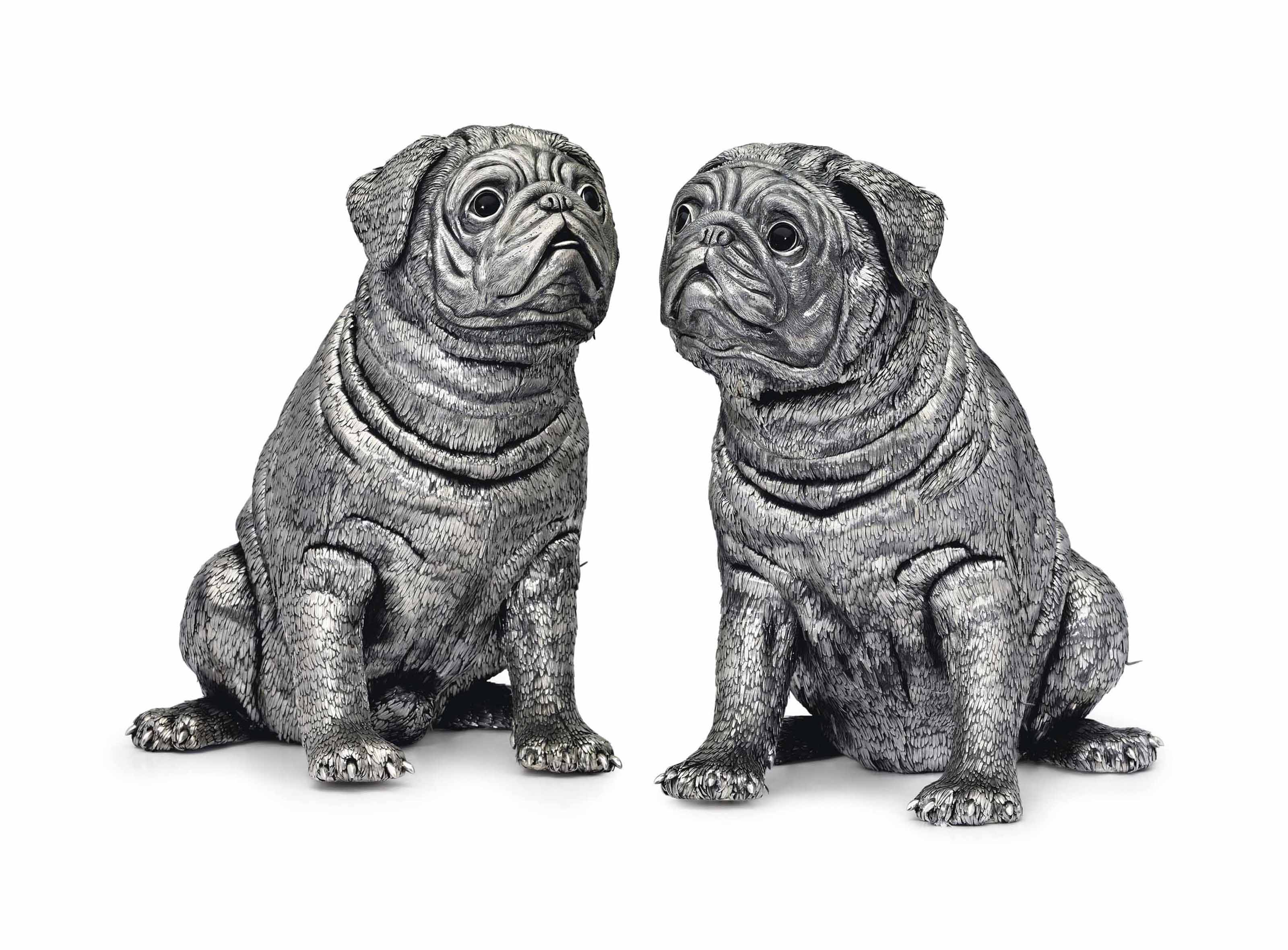 A PAIR OF ITALIAN SILVER WINE COOLERS IN THE FORM OF PUG DOGS