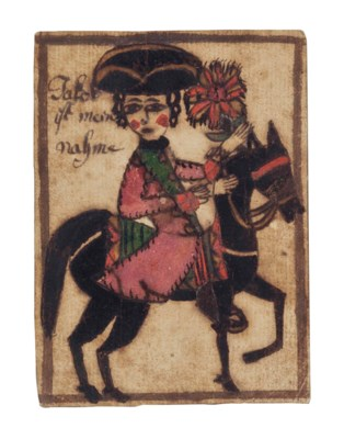 A POLYCHROME HORSE AND RIDER:
