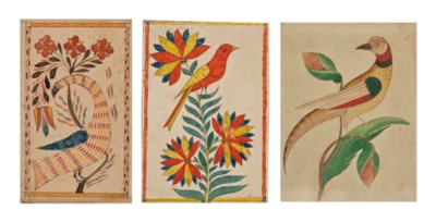 A BIRD WITH FLOWERS: FRAKTUR D