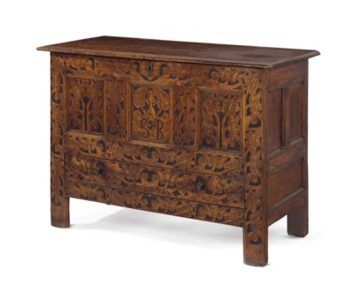 "A CARVED OAK ""HADLEY"" CHEST WI"