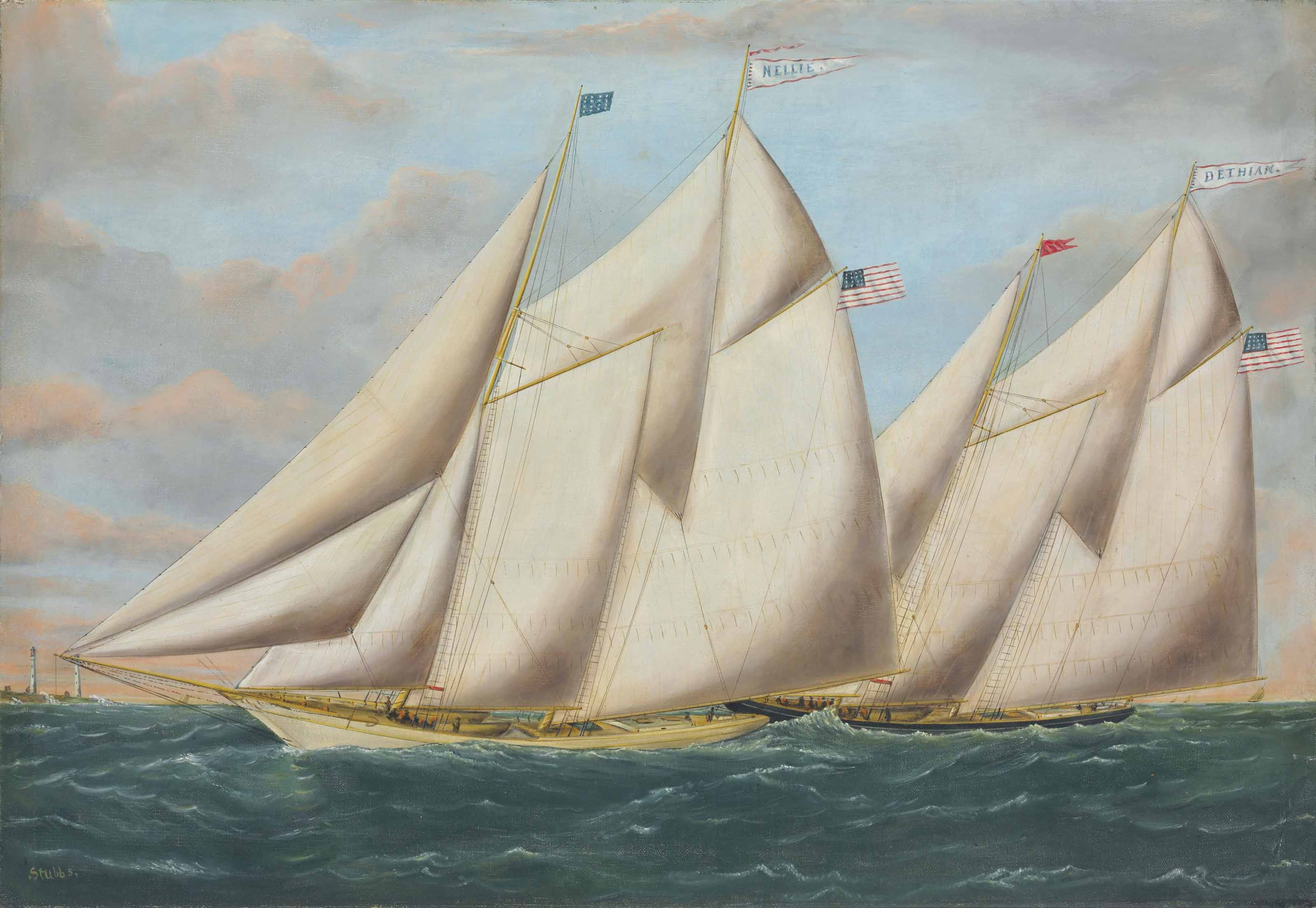 The Nellie and the Bethian Racing off Two Lights in Portland Harbor