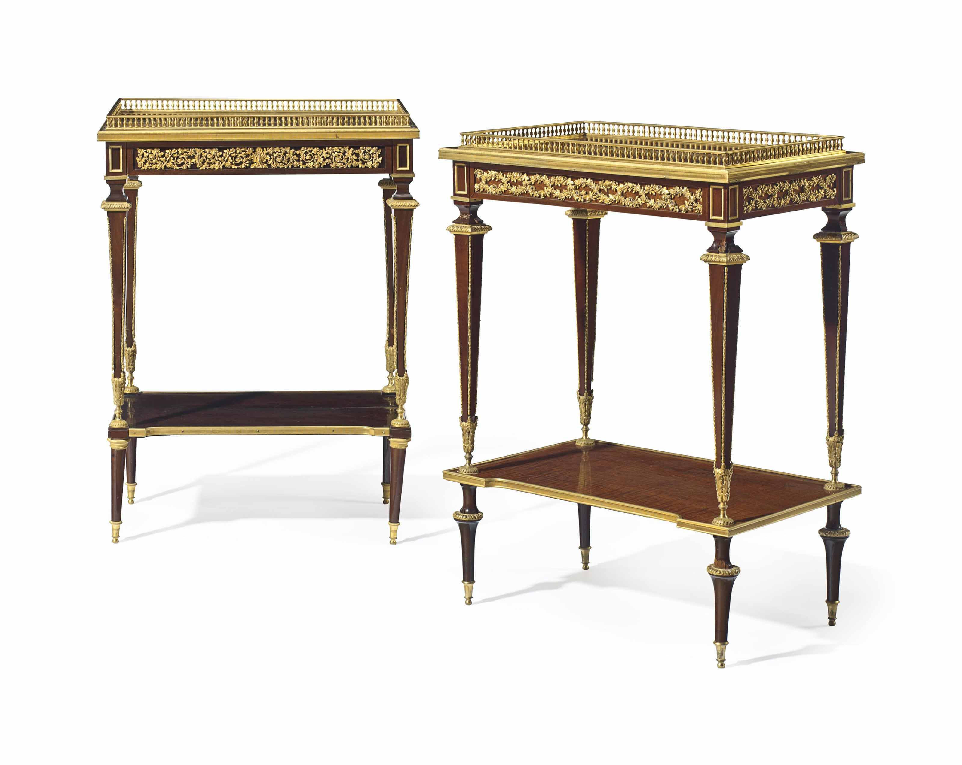 A NEAR PAIR OF FRENCH ORMOLU-M
