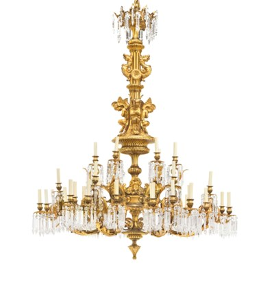 A LARGE FRENCH ORMOLU AND CRYS