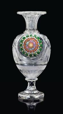 A RUSSIAN CUT-GLASS VASE