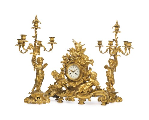 AN ASSEMBLED FRENCH ORMOLU CLO