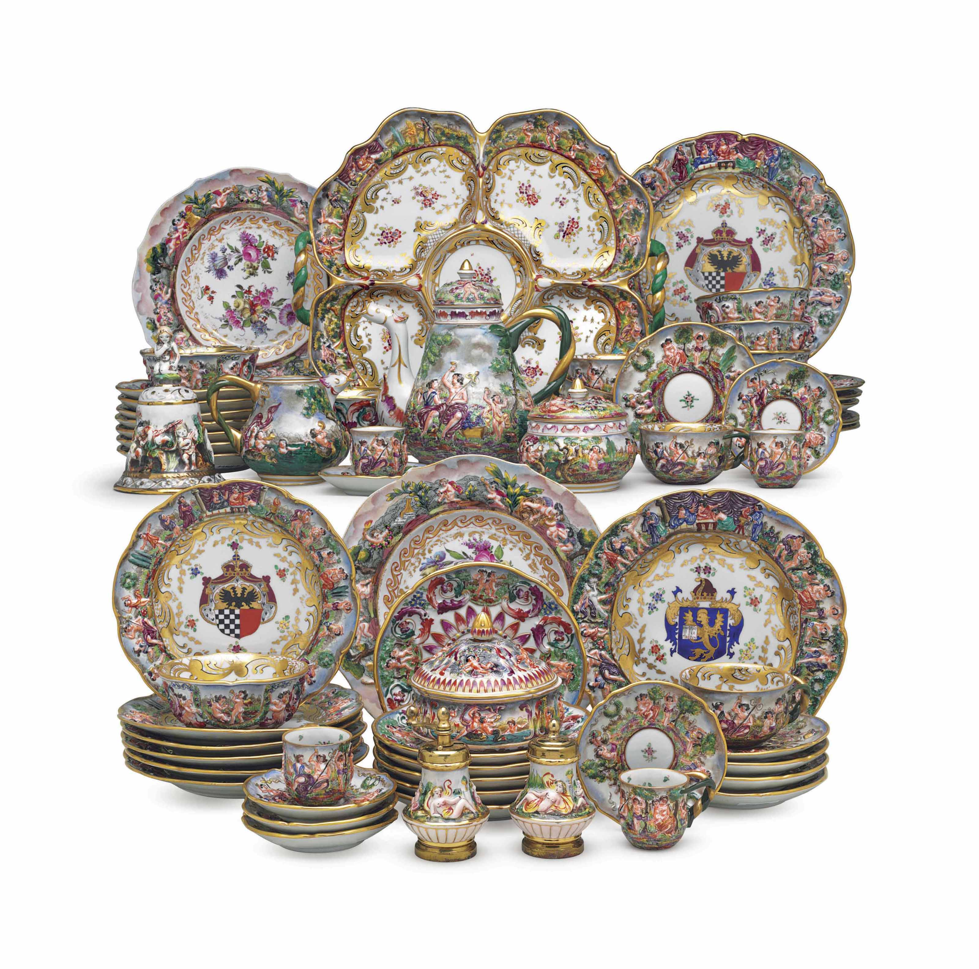 An assembled capodimonte style porcelain dinner and tea service an assembled capodimonte style thecheapjerseys Images